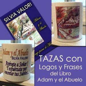 """TAZAS con Logos y Frases del Libro """"Adam y el Abuelo – Mensaje para el Mundo"""""""